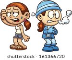 warm and cold girls clip art.... | Shutterstock .eps vector #161366720