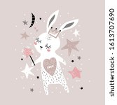 cute bunny girl with crown and... | Shutterstock .eps vector #1613707690