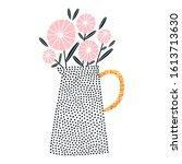 polka dot vase with pink...   Shutterstock .eps vector #1613713630
