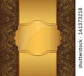 luxury gold frame on a brown... | Shutterstock . vector #161373218