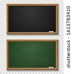 blackboard. realistic green and ... | Shutterstock .eps vector #1613783410