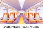 empty bus interior with orange... | Shutterstock .eps vector #1613792809