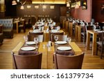 roomy hall in restaurant with... | Shutterstock . vector #161379734