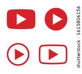red and black play button icon...   Shutterstock .eps vector #1613806156