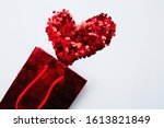 Red Heart Shaped Confetti And...