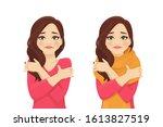 sad beautiful woman hugs... | Shutterstock .eps vector #1613827519