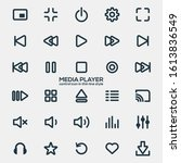 media player icons in thin line ...