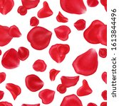 red rose petals on white... | Shutterstock . vector #1613844496