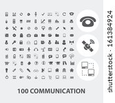 100 communication black icons...