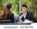 businesspeople having business... | Shutterstock . vector #161385536