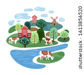 agricultural illustration. cows ... | Shutterstock .eps vector #1613856520