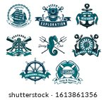 heraldic ship anchor and helm... | Shutterstock .eps vector #1613861356