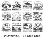 Outdoor adventure vector icons of travel, camping and rafting with sport equipment. Trekking boots, hiking backpack and mountain camp tent, campfire, compass and axes, skis, kayak, trailer - stock vector