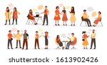 group of people talk to each... | Shutterstock .eps vector #1613902426