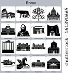 landmarks of rome. set of... | Shutterstock .eps vector #161390669