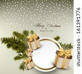 christmas round white paper... | Shutterstock .eps vector #161391776