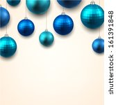 christmas gift card with blue... | Shutterstock .eps vector #161391848