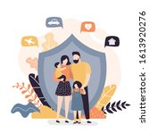 happy family and protection... | Shutterstock .eps vector #1613920276