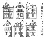 old victorian style houses ... | Shutterstock .eps vector #1613921806