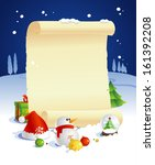 New year design with paper roll and gifts against night winter landscape. - stock vector