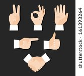 set of hands gestures vector... | Shutterstock .eps vector #161393264
