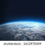 Blue Earth In The Space. View...