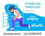 fitness for toned legs. woman...   Shutterstock .eps vector #1614000499