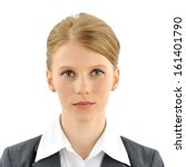 Stock photo official portrait of a woman official portrait of a woman with red hair in suit very crisp and 161401790