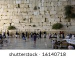 The Western Wall at night, the holiest site in Judaism - stock photo