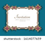 vintage gold wedding card with...   Shutterstock .eps vector #1614077659