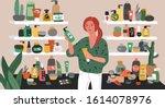 cute young woman choosing...   Shutterstock .eps vector #1614078976