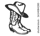 Cowboy Boots And Hat. Vector...