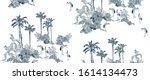 seamless pattern tropical... | Shutterstock .eps vector #1614134473