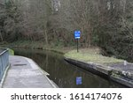 Small photo of Chirk, Denbighshire, Wales, UK. January 9, 2020. The Llangollen canal as it crosses into England from the Chirk aqueduct.