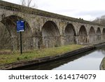 Small photo of Chirk, Denbighshire, Wales, UK. January 9, 2020. The railway viaduct and canal aqueduct crossing the Ceiriog Valley at Chirk.