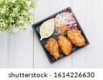 fried chicken wing and salad on ... | Shutterstock . vector #1614226630
