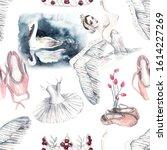 ballet seamless watercolor...   Shutterstock . vector #1614227269
