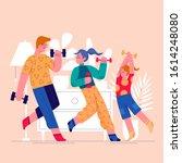 sport family flat vector...   Shutterstock .eps vector #1614248080
