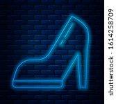 glowing neon line woman shoe... | Shutterstock .eps vector #1614258709