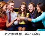 group of friends toasting with... | Shutterstock . vector #161432288