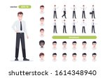 businessman set isolated. man... | Shutterstock .eps vector #1614348940