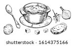 vegetable soup. hand drawn... | Shutterstock .eps vector #1614375166