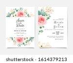 elegant rose and leaves wedding ... | Shutterstock .eps vector #1614379213