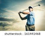 golfer at sunset  man swinging... | Shutterstock . vector #161441468