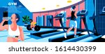 gym flat vector landing page...