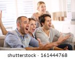 cheerful group of friends... | Shutterstock . vector #161444768