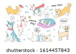 cute dogs doodle characters.... | Shutterstock .eps vector #1614457843