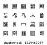 locker room flat glyph icons... | Shutterstock .eps vector #1614463039