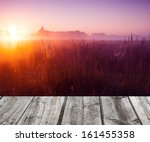Meadow Sunset With Wood Floor