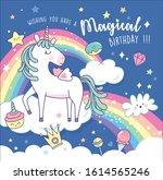 birthday greeting card with a... | Shutterstock .eps vector #1614565246
